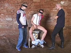 Sex fun with chained and blindfold gay slave
