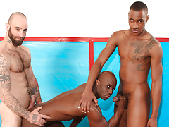 Athletes Sam & Tyson take train Jay on the wrestling mat
