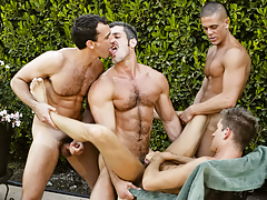 A steamy session of stick sucking, rimming, and group smoking
