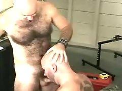 Mature gay sucks cock and licks hairy hole
