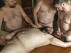 Fat gays jizz by turns on face