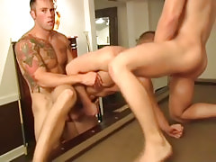 Muscle gays fuck tight males hole by turns