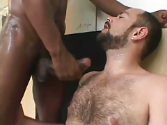 Hairy man gets cum by ebony dude