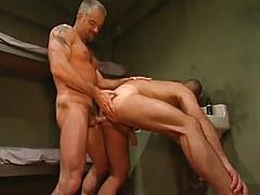 Horny mature prisoner drills poor guy