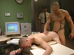 Muscle gay fucks man in doggy style