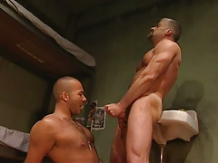 Mature gay cums on hairy dude