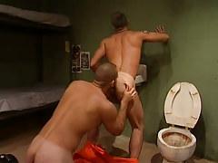 Poor prisoner licks hairy asshole