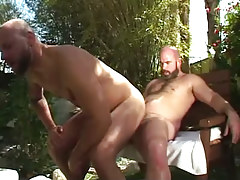 Hairy gay jumps on hard cock outdoor