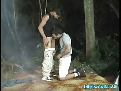 Latin gay twinks suck in dark forest
