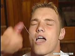 Hot gay boy swallows hot cum