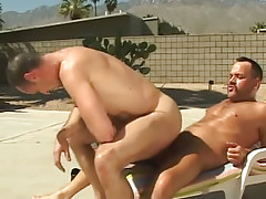 Lusty mature man rides cock of bear gay outdoor