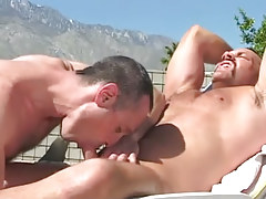 Bear gay sucked by horny mature man outdoor