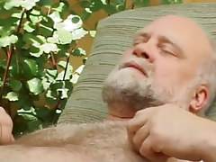 Hairy old gay enjoys by blowjob outdoor
