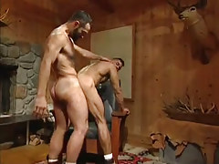 Hairy gay men hard fuck in doggy style