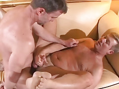 Mature gay fucks hairy man on sofa