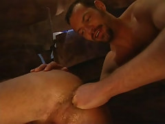 Mature hairy gay fistfucks tight guys hole