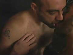 Hairy gay men kissing