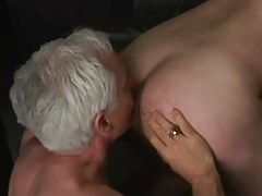Silver gay man licks appetizing ass