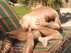 Muscle gay dilf rides hard dick outdoor