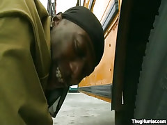 Black gay fucked behind by school bus