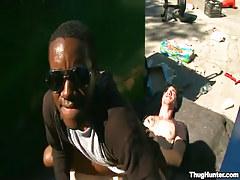 Black guy rides white gay stallion outdoor