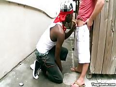 Interracial gay twinks suck outdoor